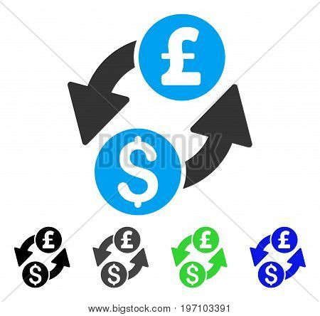 Dollar Pound Exchange flat vector illustration. Colored dollar pound exchange gray, black, blue, green icon variants. Flat icon style for graphic design.