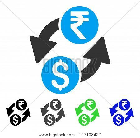 Dollar Rupee Exchange flat vector pictograph. Colored dollar rupee exchange gray, black, blue, green icon versions. Flat icon style for web design.