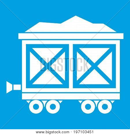 Cart on wheels with gold icon white isolated on blue background vector illustration