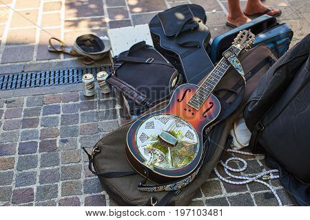 Metallic Resonator Acoustic Guitar.