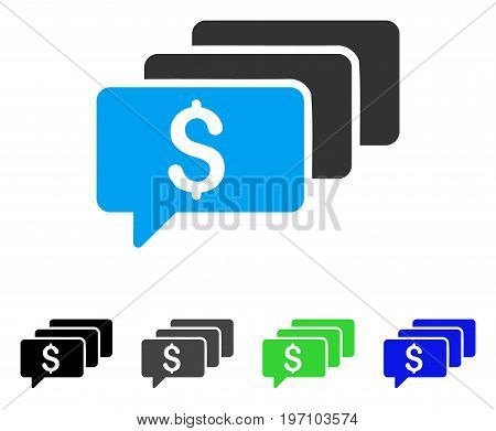 Money Messages flat vector icon. Colored money messages gray, black, blue, green pictogram versions. Flat icon style for application design.