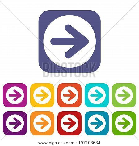 Arrow in circle icons set vector illustration in flat style in colors red, blue, green, and other