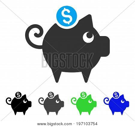 Piggy Bank flat vector pictograph. Colored piggy bank gray, black, blue, green icon versions. Flat icon style for web design.