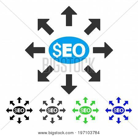 Seo Distribution flat vector icon. Colored seo distribution gray, black, blue, green icon versions. Flat icon style for web design.