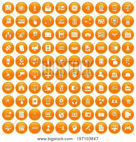 100 database icons set in orange circle isolated on white vector illustration
