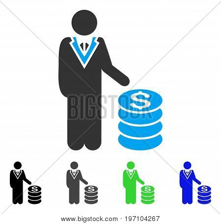 Businessman flat vector icon. Colored businessman gray, black, blue, green icon versions. Flat icon style for application design.