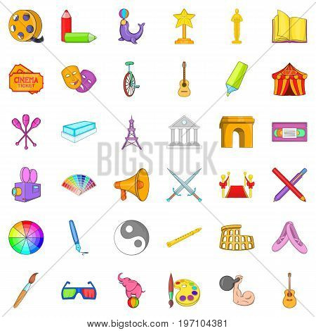 Cinematography icons set. Cartoon style of 36 cinematography vector icons for web isolated on white background