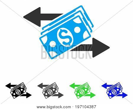 Dollar Banknotes Payments flat vector icon. Colored dollar banknotes payments gray, black, blue, green icon variants. Flat icon style for application design.