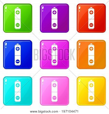 Battery icons of 9 color set isolated vector illustration
