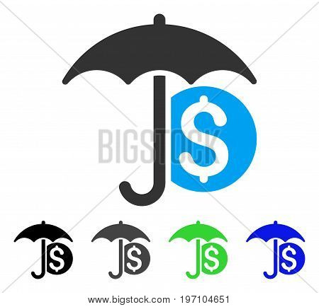 Money Umbrella Protection flat vector illustration. Colored money umbrella protection gray, black, blue, green pictogram variants. Flat icon style for web design.
