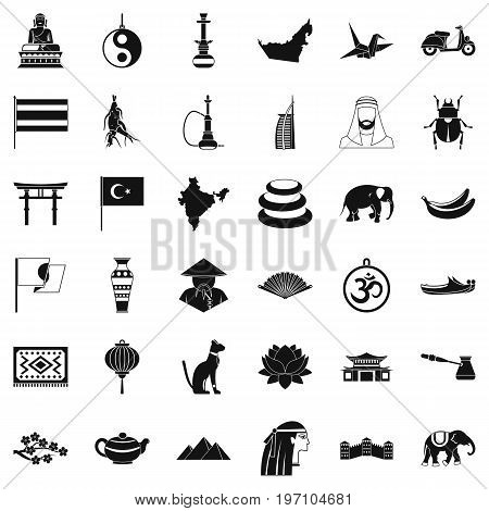Asian things icons set. Simple style of 36 asian things vector icons for web isolated on white background
