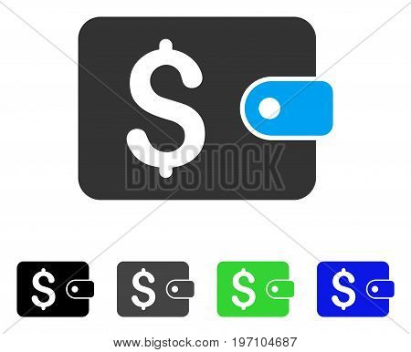 Purse flat vector pictograph. Colored purse gray, black, blue, green pictogram variants. Flat icon style for application design.