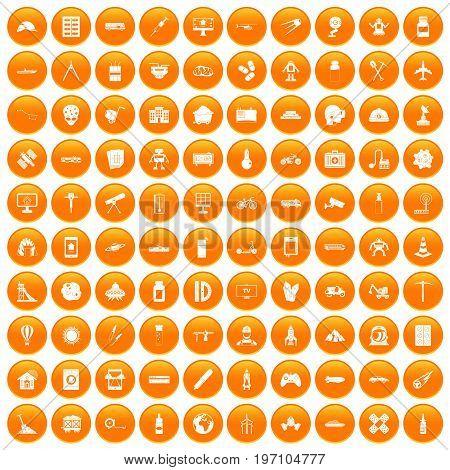 100 development icons set in orange circle isolated on white vector illustration