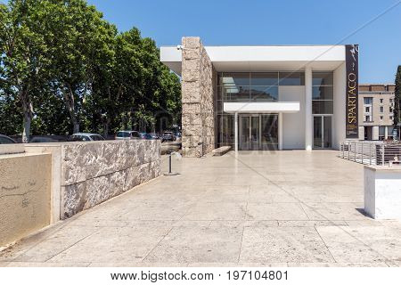 ROME, ITALY - JUNE 22, 2017: view of Ara Pacis Museum in city of Rome, Italy