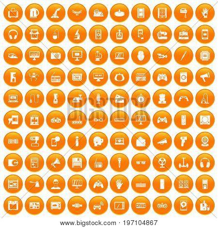 100 device icons set in orange circle isolated on white vector illustration