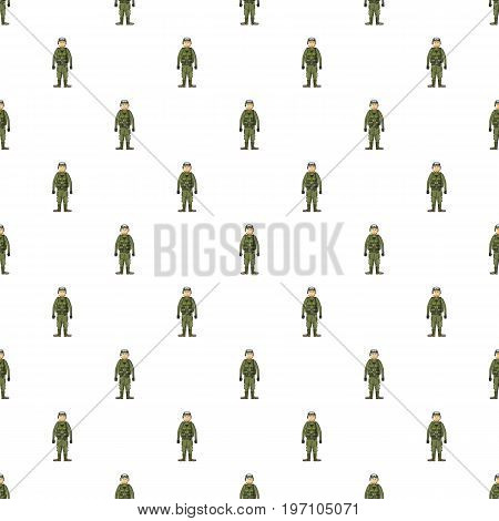 Soldier in body armor pattern seamless repeat in cartoon style vector illustration