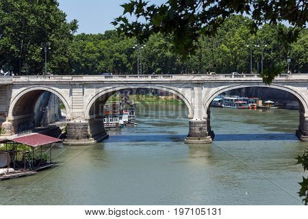 ROME, ITALY - JUNE 22, 2017: Panoramic view of Tiber River in city of Rome, Italy