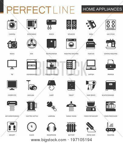 Black classic home appliances household web icons set