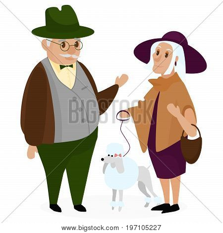 Old peple couple with a dog poodle. Happy grandparents together isolated. Grandpa and grandma. Elderly couple. Cartoon vector illustration