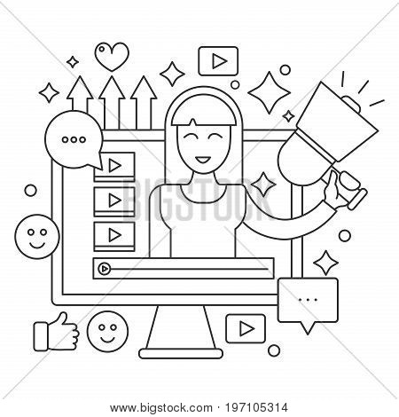 Video blogger thin line web concept. Computer screen with female woman blogger. Personal blogging channel broadcasting outline stroke vector illustration