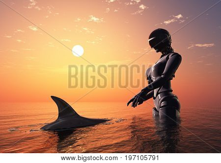 Robot and dolphin in the sea.,3d render