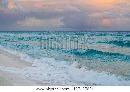 Stunning sunset at sandy beach - natural background