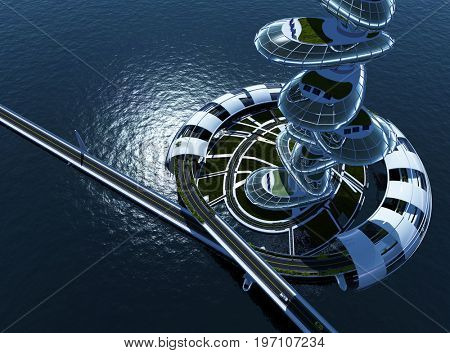 Skyscraper on the water..3d render