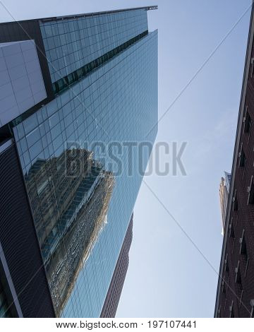 Reflection on skyscraper in Charlotte, North Carolina