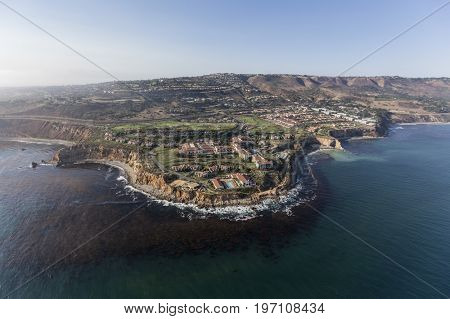 Rancho Palos Verdes, California, USA - July 10, 2017:   Aerial view of upscale resort at the edge of Long Point on the Pacific Coast near Los Angeles.