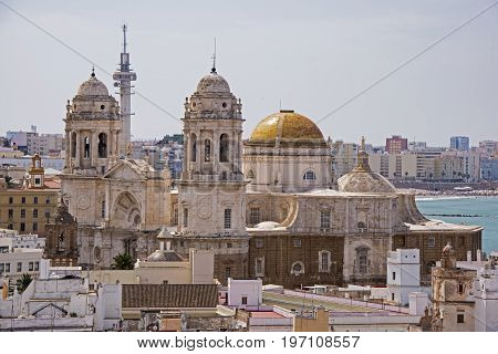 Partial view of the baroque and neoclassical Cadiz Cathedral Spain