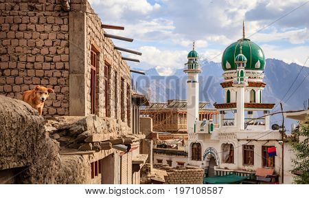A mosque in the city of Leh in Ladakh region of Kashmir, India