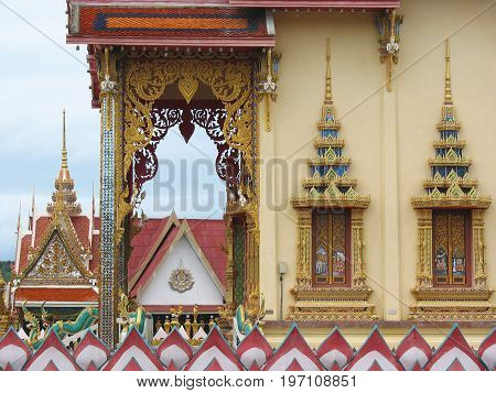 View to Buddhist Thai temple decorations architecture