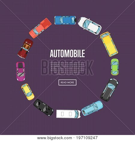 Automobile poster with top view cars in flat style. Urban heavy traffic concept, city transport services. Auto business advertising, automobile selling, leasing or renting car vector illustration.