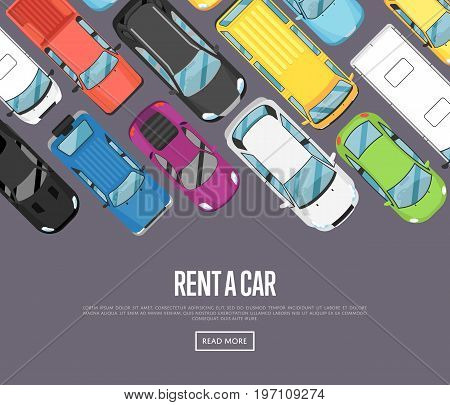 Rent a car poster with modern city cars. Transport service, online pre order car vector illustration. Auto business advertising, test drive concept, automobile selling, leasing or renting car banner