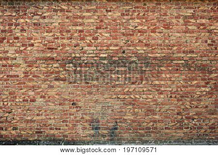 old brick wall for texture or background, brown and red color