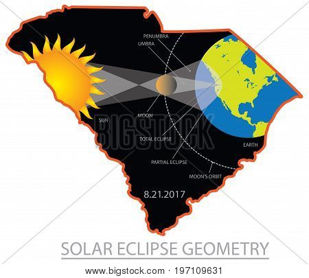 2017 Solar Eclipse Geometry Totality across South Carolina State cities map color vector illustration
