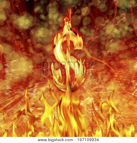 Conceptual image of burning dollar sign and fire flames
