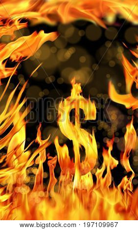 conceptual image of burning dollar sign in black