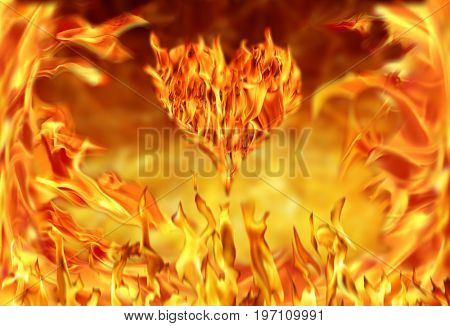 Conceptual image of burning heart shape and fire flames