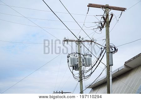 power pole and transformer in residential area
