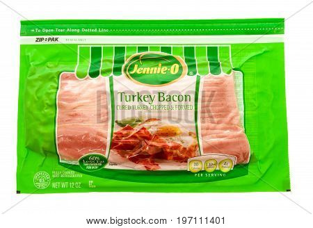 Winneconne WI - 26 July 2017: A package of Jennie-o turkey bacon on an isolated background.