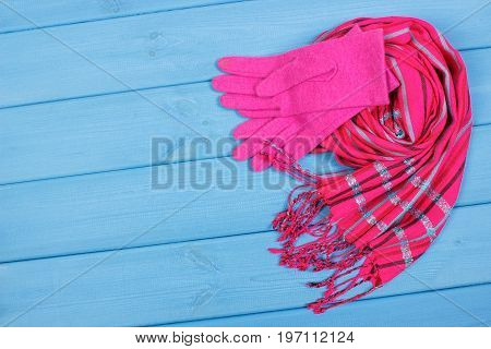 Womanly Gloves And Shawl On Boards, Clothing For Autumn Or Winter, Copy Space For Text