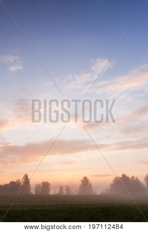 Misty meadow and beautiful clouds at dawn