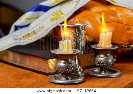 Shabbat Shalom Traditional Jewish Sabbath Ritual Challah Bread, Wine