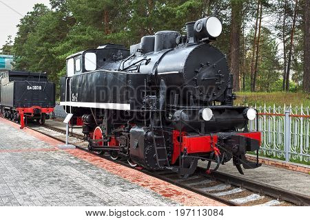 Novosibirsk Museum of railway equipment in Novosibirsk Siberia Russia - July 7 2017: shunting tank locomotive 9P