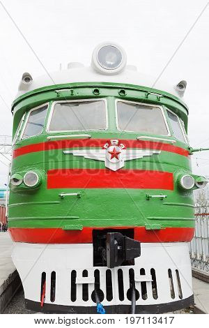Novosibirsk Museum of railway equipment in Novosibirsk Siberia Russia - July 7 2017: Train Riga DC type 1 ( ER 1 ). Released in the Soviet Union at the Riga wagon factory 1957