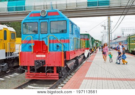 Novosibirsk Museum of railway equipment in Novosibirsk Siberia Russia - July 7 2017: the diesel Locomotive ChME 2 -- Czechoslovak shunting diesel locomotive with electric transmission