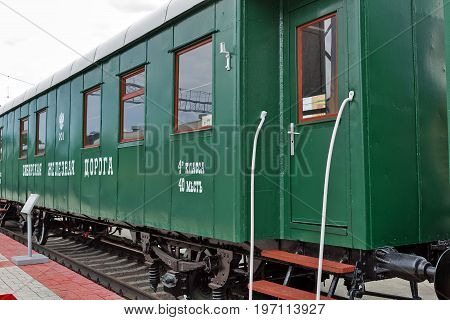 Novosibirsk Museum of railway equipment in Novosibirsk Siberia Russia - July 7 2017: the passenger Car class 4 for 40 seats two-axle Siberian type. Built in 1901 the Rostov railway workshops
