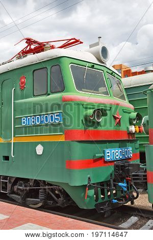 Novosibirsk Museum of railway equipment retro appliances railway transportation Museum exhibit Museum under the open sky railway Novosibirsk West-Siberian railway places of interest two-section mainline Freight electric locomotive VL80 ( Vladimir Lenin )