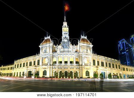 Ho Chi Minh City, Vietnam - July 9, 2017: Architecture palace royal night, formerly the property of the French later the People's Committees of attracting tourists sightseeing in Ho Chi Minh, Vietnam
